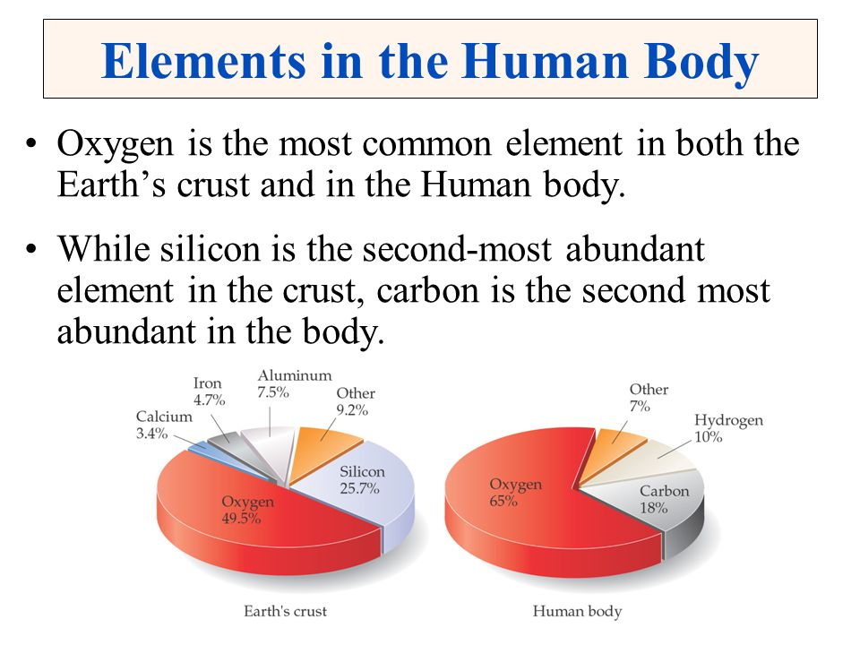Elements in the Human Body Oxygen is the most common element in both the Earth's crust and in the Human body. While silicon is the second-most abundan