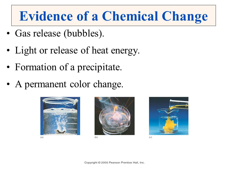 Evidence of a Chemical Change Gas release (bubbles). Light or release of heat energy. Formation of a precipitate. A permanent color change.
