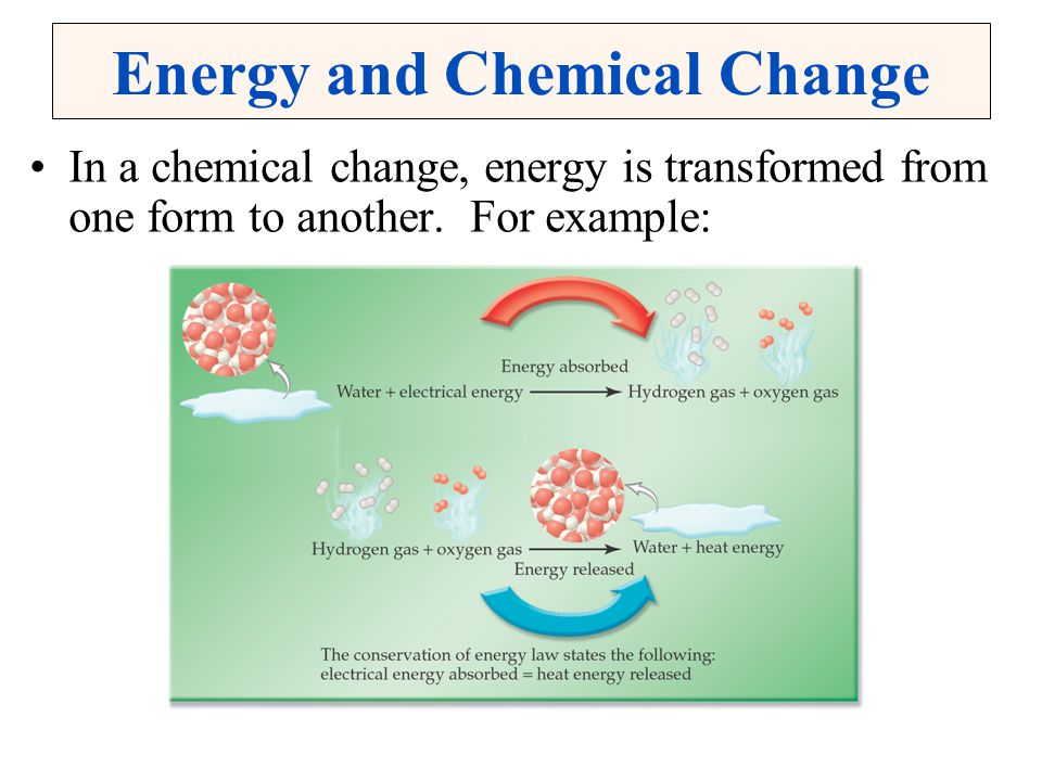 Energy and Chemical Change In a chemical change, energy is transformed from one form to another. For example: