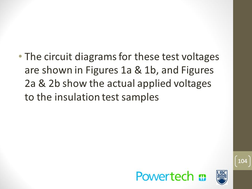 The circuit diagrams for these test voltages are shown in Figures 1a & 1b, and Figures 2a & 2b show the actual applied voltages to the insulation test samples 104