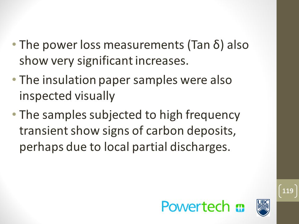 The power loss measurements (Tan δ) also show very significant increases.