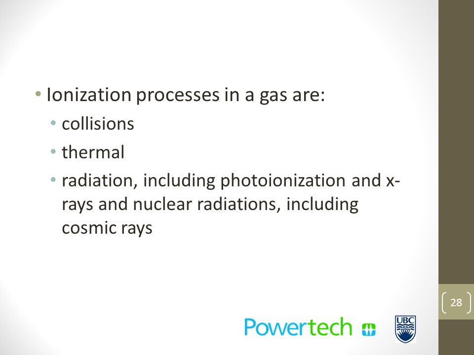 Ionization processes in a gas are: collisions thermal radiation, including photoionization and x- rays and nuclear radiations, including cosmic rays 28