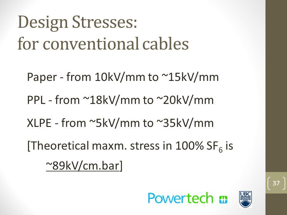 Design Stresses: for conventional cables Paper - from 10kV/mm to ~15kV/mm PPL - from ~18kV/mm to ~20kV/mm XLPE - from ~5kV/mm to ~35kV/mm [Theoretical maxm.