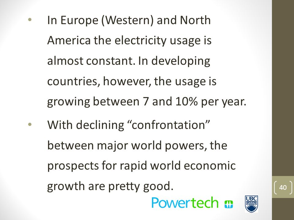 In Europe (Western) and North America the electricity usage is almost constant.