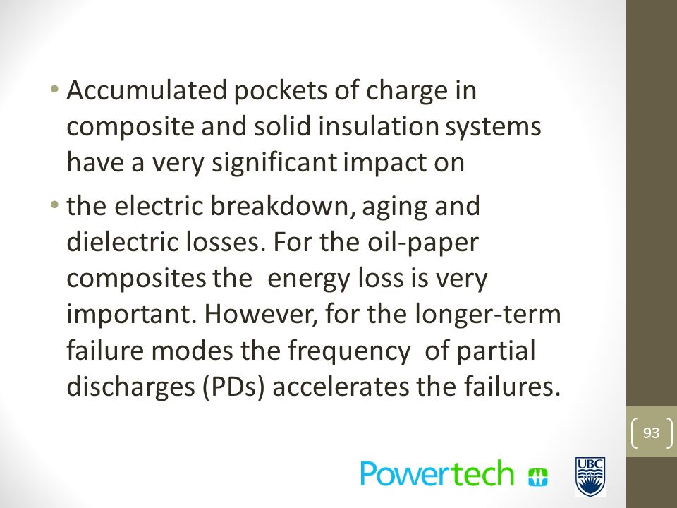 Accumulated pockets of charge in composite and solid insulation systems have a very significant impact on the electric breakdown, aging and dielectric losses.