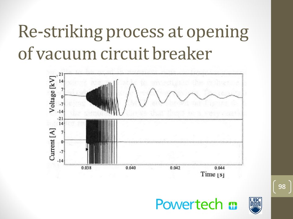 98 Re-striking process at opening of vacuum circuit breaker
