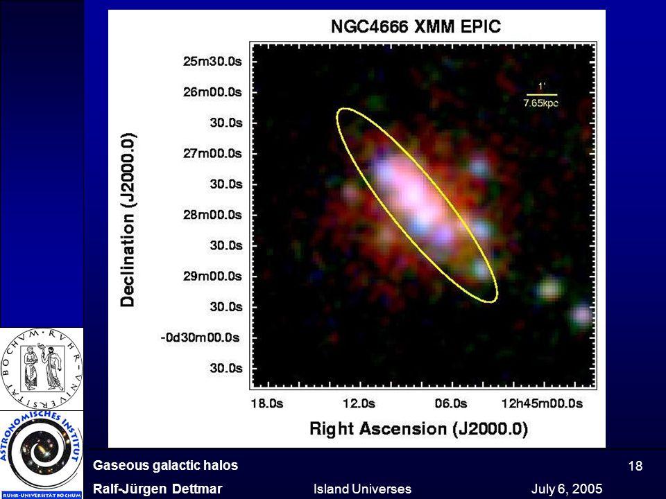 Gaseous galactic halos Ralf-Jürgen Dettmar Island Universes July 6, 2005 18