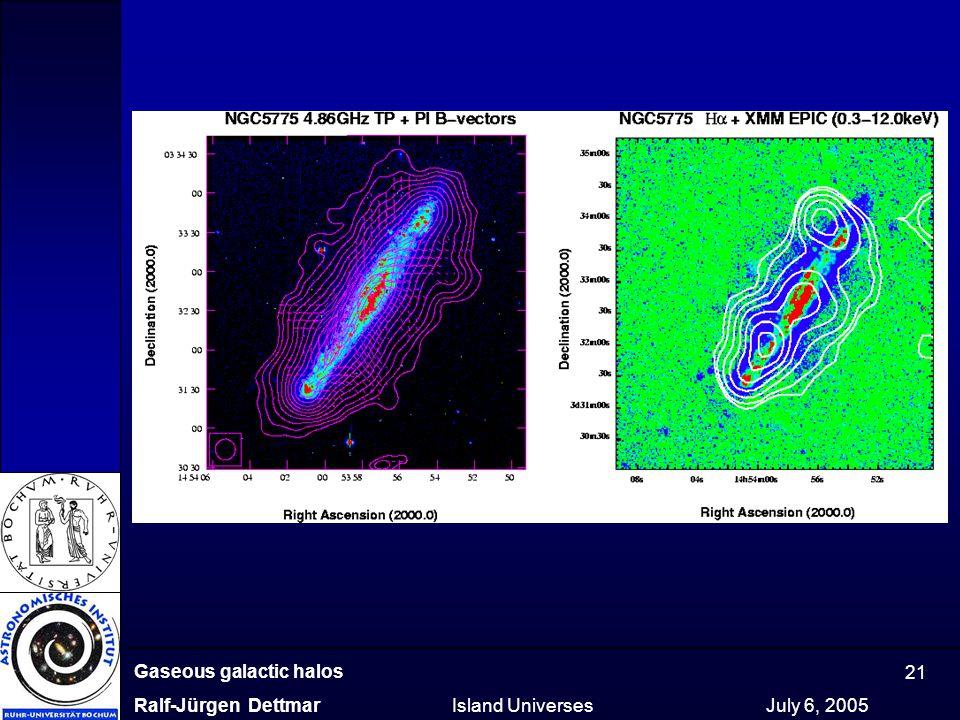 Gaseous galactic halos Ralf-Jürgen Dettmar Island Universes July 6, 2005 21