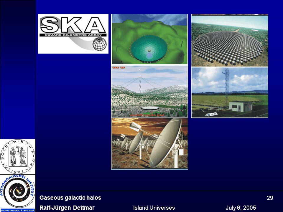 Gaseous galactic halos Ralf-Jürgen Dettmar Island Universes July 6, 2005 29