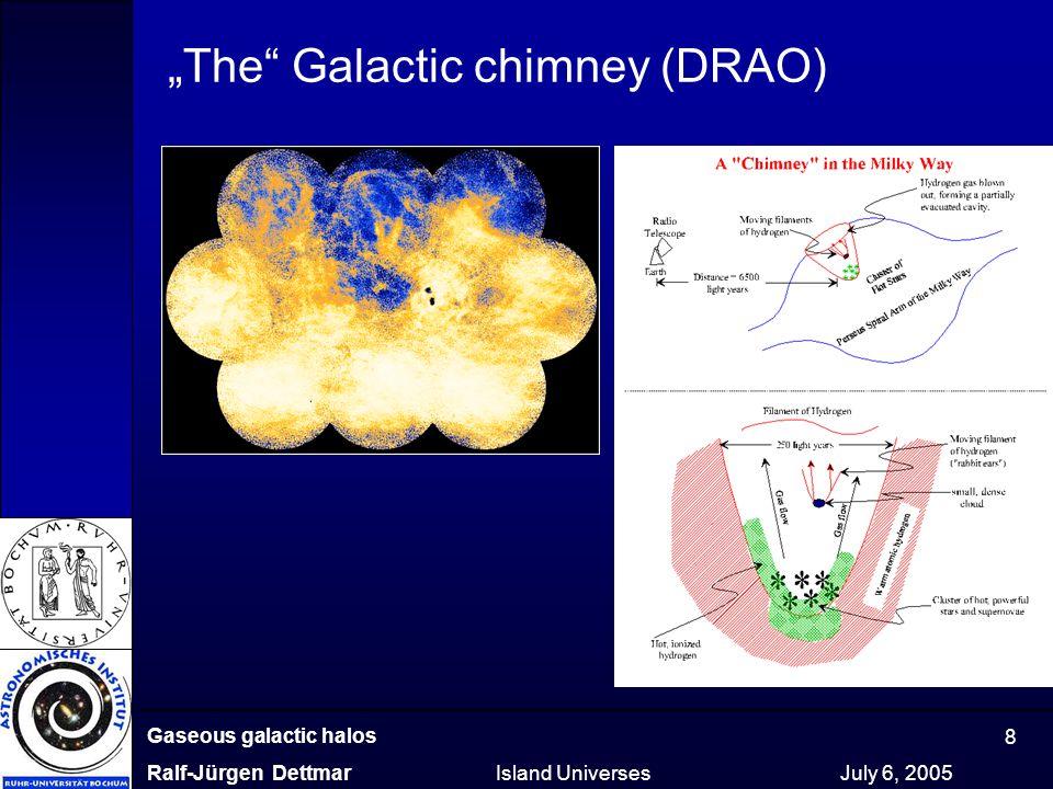 "Gaseous galactic halos Ralf-Jürgen Dettmar Island Universes July 6, 2005 8 ""The"" Galactic chimney (DRAO)"