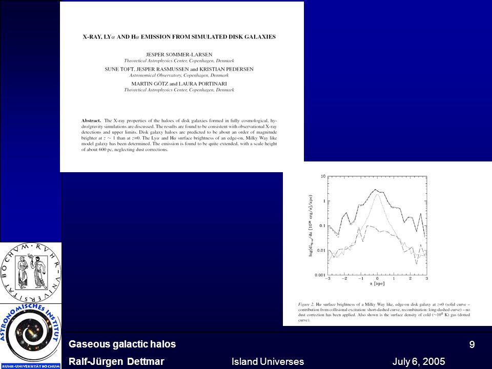 Gaseous galactic halos Ralf-Jürgen Dettmar Island Universes July 6, 2005 9