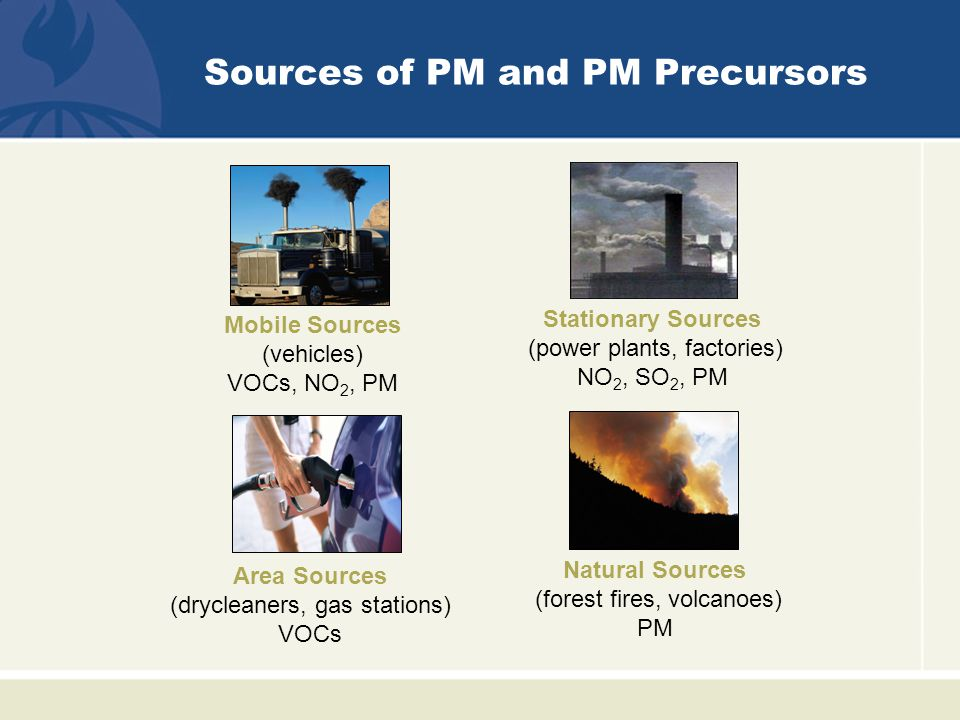 Determinants of PM Concentration Weather patterns Wind Stability (vertical movement of air) Turbulence Precipitation Topography Smokestack height and temperature of gases Nearby natural and built structures may lead to downward moving currents causing aerodynamic or building downwash of smokestack emissions.