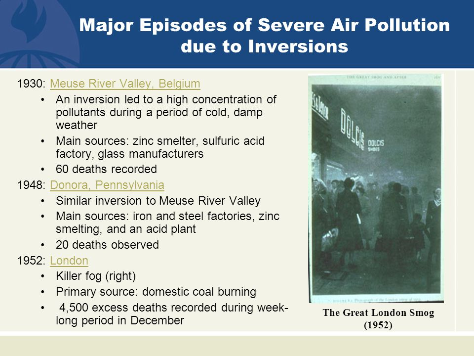 1930: Meuse River Valley, BelgiumMeuse River Valley, Belgium An inversion led to a high concentration of pollutants during a period of cold, damp weather Main sources: zinc smelter, sulfuric acid factory, glass manufacturers 60 deaths recorded 1948: Donora, PennsylvaniaDonora, Pennsylvania Similar inversion to Meuse River Valley Main sources: iron and steel factories, zinc smelting, and an acid plant 20 deaths observed 1952: LondonLondon Killer fog (right) Primary source: domestic coal burning 4,500 excess deaths recorded during week- long period in December The Great London Smog (1952) Major Episodes of Severe Air Pollution due to Inversions