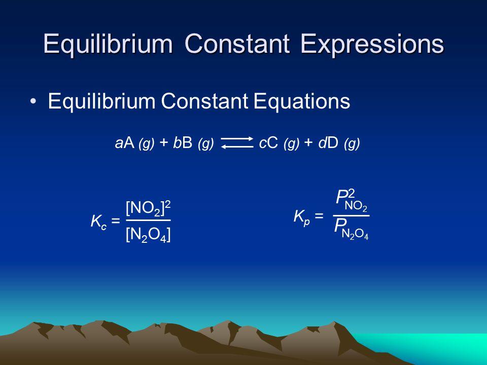 Equilibrium Constant Expressions Equilibrium Constant Equations K c = [NO 2 ] 2 [N 2 O 4 ] K p = NO 2 P2P2 N2O4N2O4 P aA (g) + bB (g) cC (g) + dD (g)