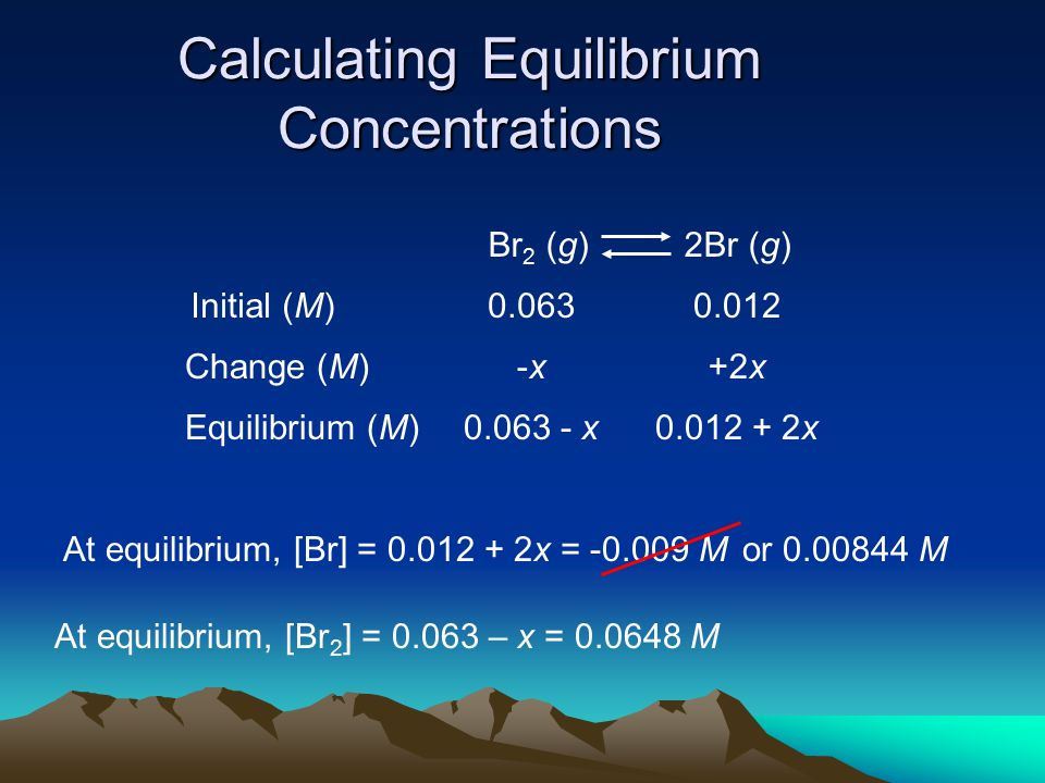 Calculating Equilibrium Concentrations Br 2 (g) 2Br (g) Initial (M) Change (M) Equilibrium (M) 0.0630.012 -x-x+2x 0.063 - x0.012 + 2x At equilibrium, [Br] = 0.012 + 2x = -0.009 M At equilibrium, [Br 2 ] = 0.063 – x = 0.0648 M or 0.00844 M