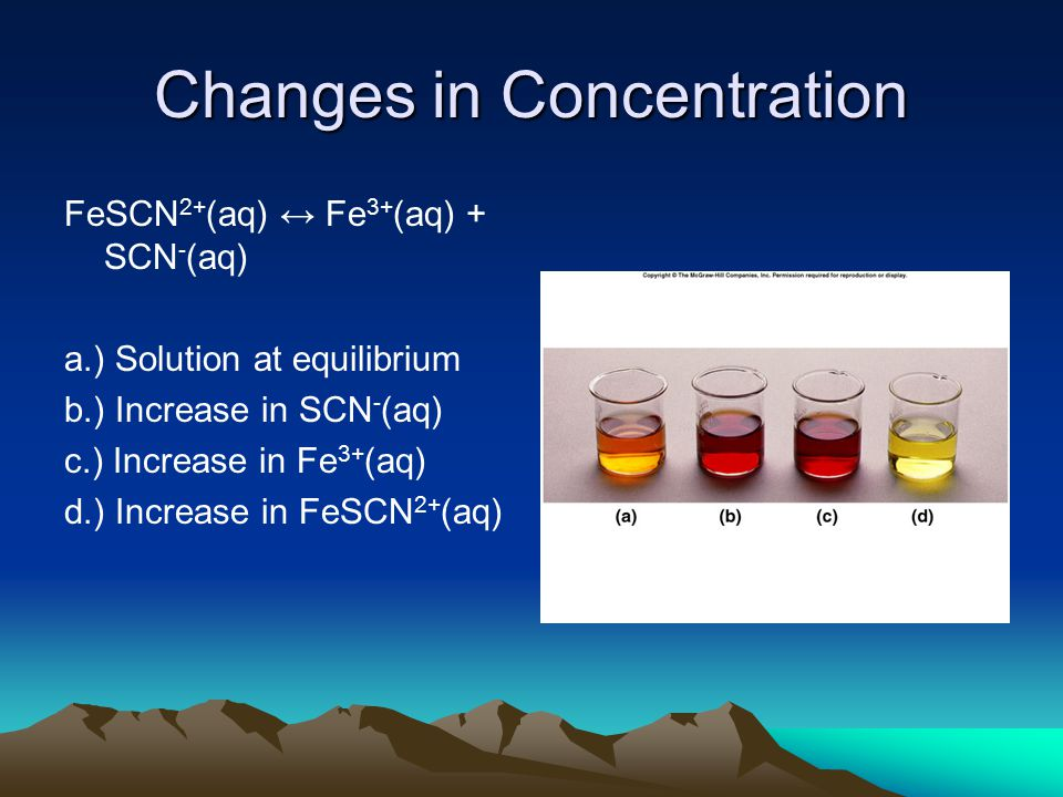 Changes in Concentration FeSCN 2+ (aq) ↔ Fe 3+ (aq) + SCN - (aq) a.) Solution at equilibrium b.) Increase in SCN - (aq) c.) Increase in Fe 3+ (aq) d.) Increase in FeSCN 2+ (aq)