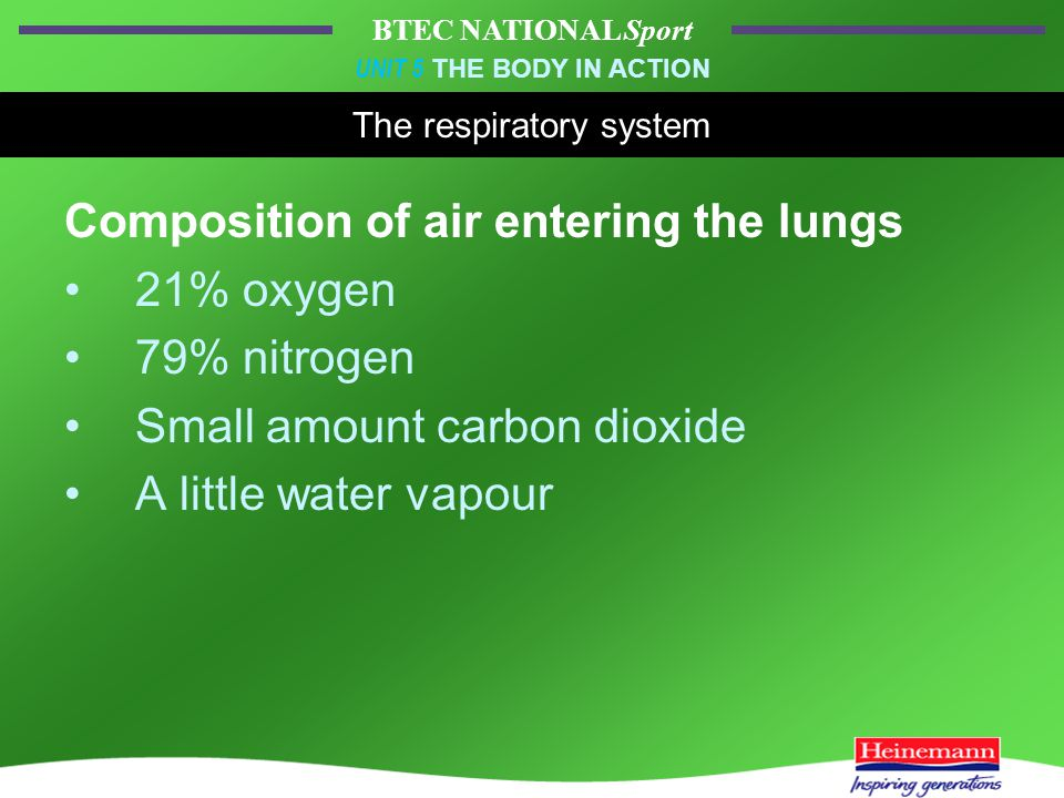 BTEC NATIONAL Sport UNIT 5 THE BODY IN ACTION The respiratory system Composition of air entering the lungs 21% oxygen 79% nitrogen Small amount carbon dioxide A little water vapour
