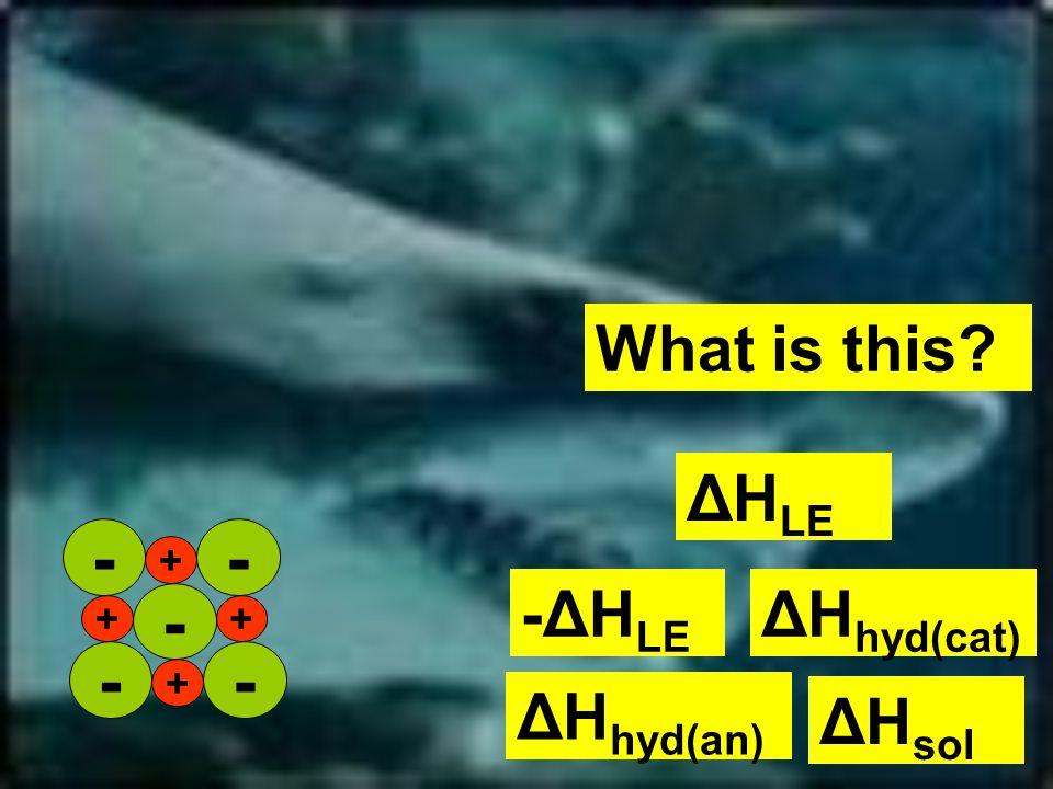 What is this ΔH LE ΔH hyd(cat) -ΔH LE ΔH sol ΔH hyd(an) + ++ + -- - --