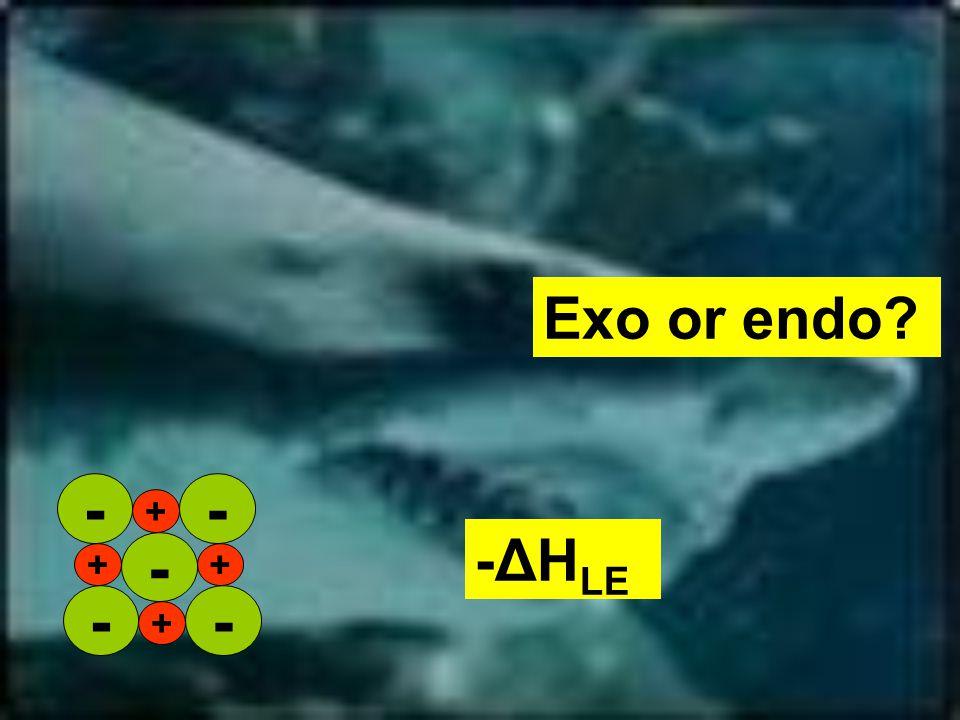 Exo or endo -ΔH LE + ++ + -- - --