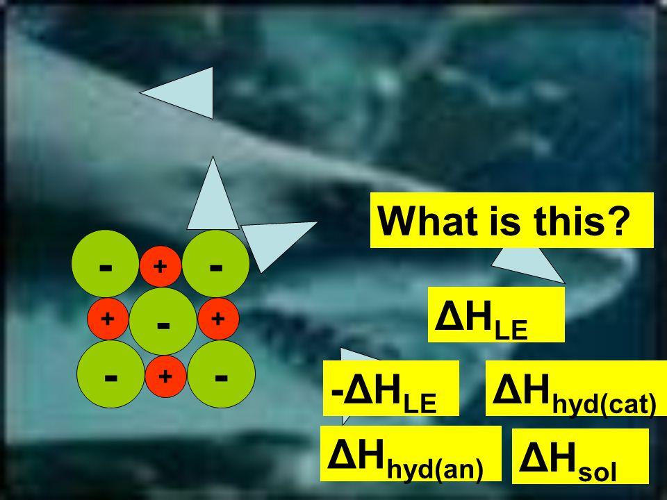-- - - + + + + - What is this ΔH LE ΔH hyd(cat) -ΔH LE ΔH sol ΔH hyd(an)