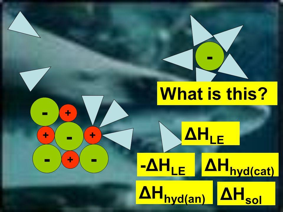 -- - - + + + - + What is this ΔH LE ΔH hyd(cat) -ΔH LE ΔH sol ΔH hyd(an)