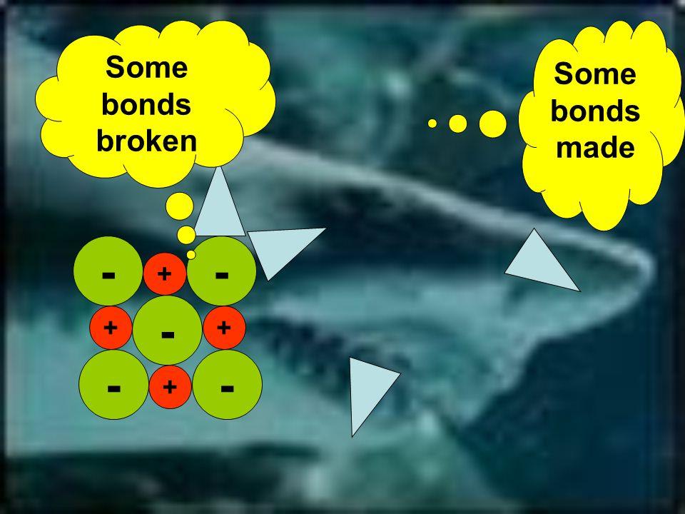 -- - - + + + + - Some bonds broken Some bonds made
