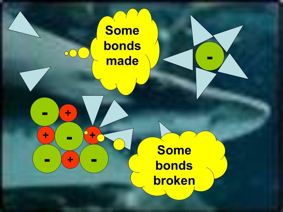 -- - - + + + - + Some bonds broken Some bonds made