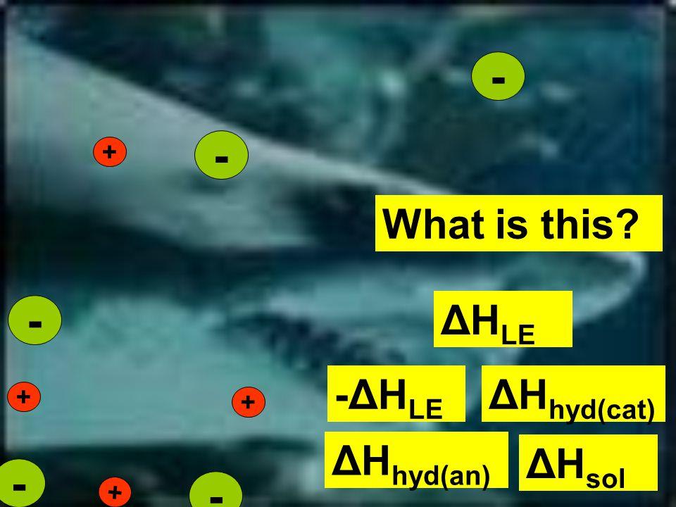 + + + + - - - - - What is this ΔH LE ΔH hyd(cat) -ΔH LE ΔH sol ΔH hyd(an)