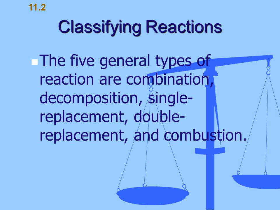 Classifying Reactions The five general types of reaction are combination, decomposition, single- replacement, double- replacement, and combustion. 11.