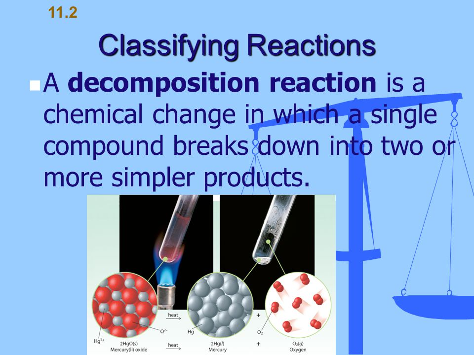 Classifying Reactions A decomposition reaction is a chemical change in which a single compound breaks down into two or more simpler products. 11.2