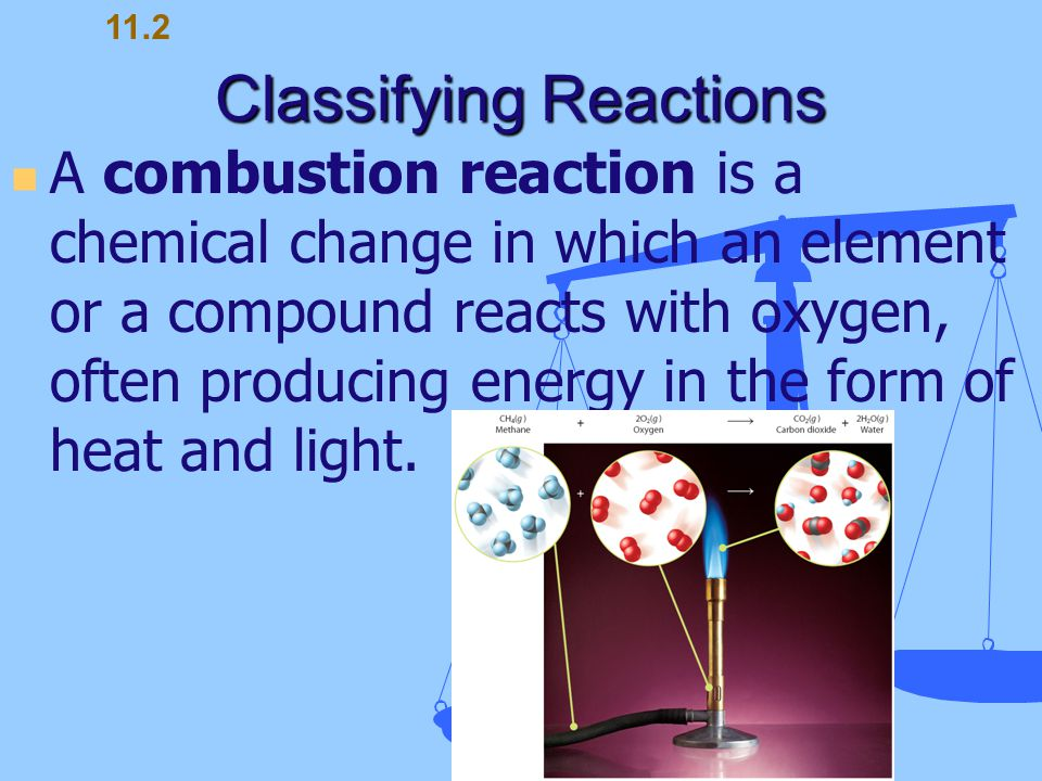 Classifying Reactions A combustion reaction is a chemical change in which an element or a compound reacts with oxygen, often producing energy in the f