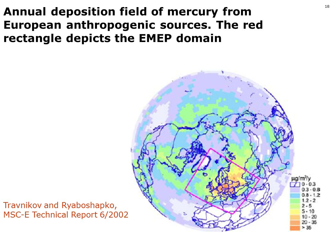 www.ivl.se 17 MSC-East Hemispherical model. Spatial distribution of mean annual concentration of elemental mercury in the surface air of the Northern
