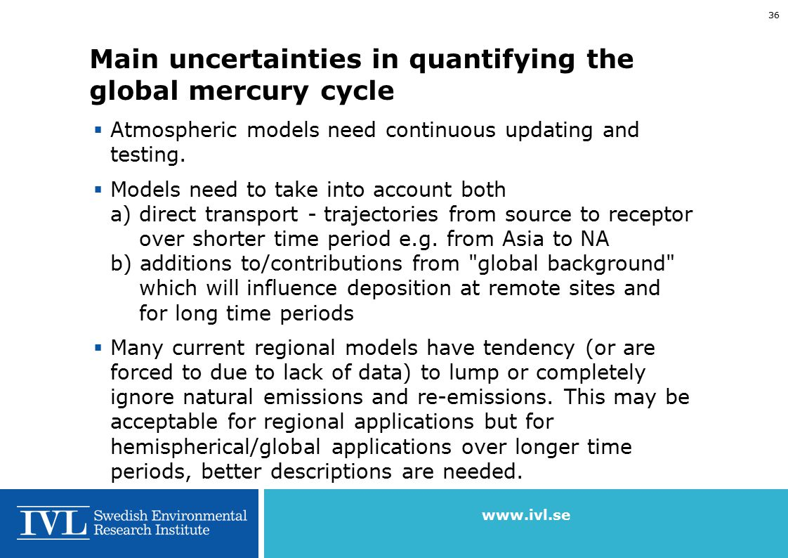 www.ivl.se 35 Main uncertainties in quantifying the global mercury cycle  Emission inventories for anthropogenic sources: Needs continuous updating a