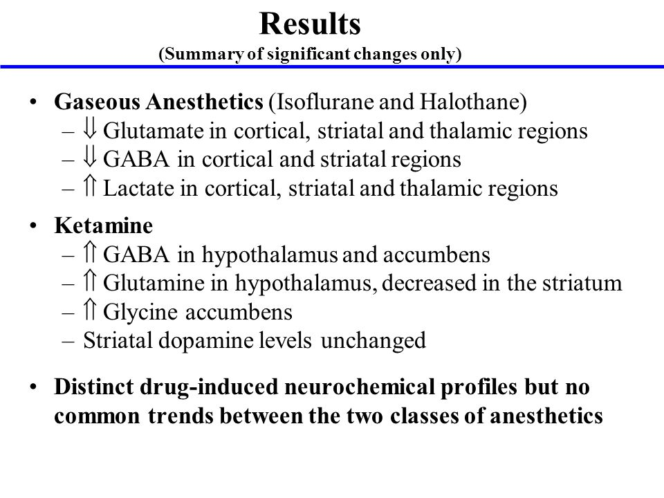 Results (Summary of significant changes only) Gaseous Anesthetics (Isoflurane and Halothane) –  Glutamate in cortical, striatal and thalamic regions