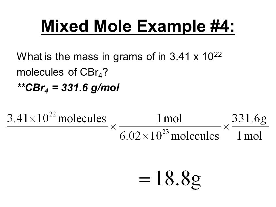 Mixed Mole Example #3: What is the volume of a sample of nitrogen dioxide gas measured at STP that has a mass of 29.3 g.