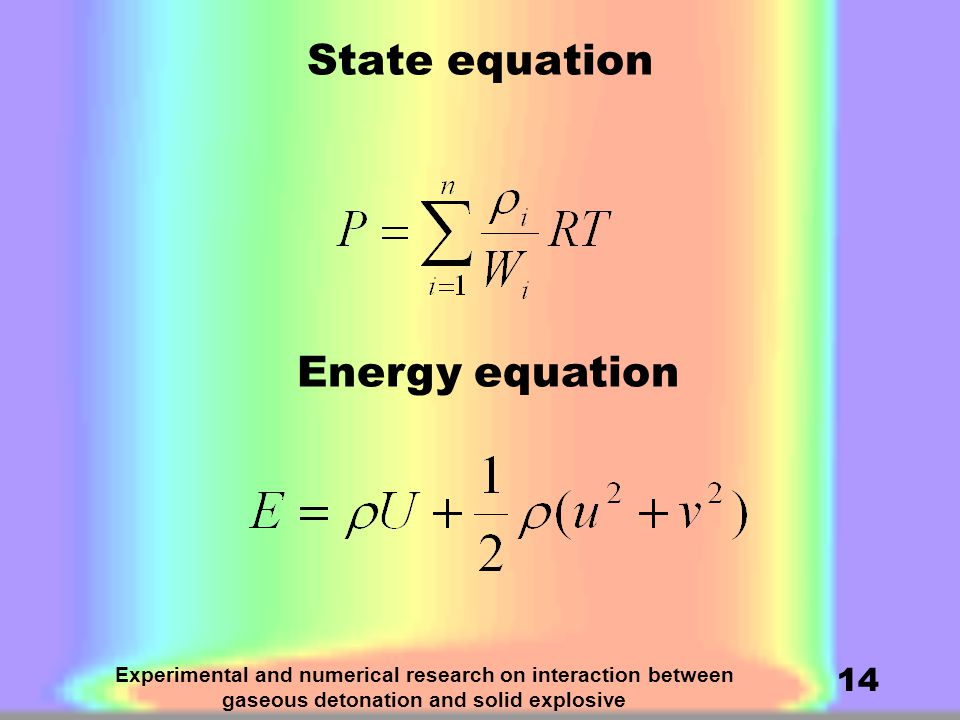 Experimental and numerical research on interaction between gaseous detonation and solid explosive 14 State equation Energy equation