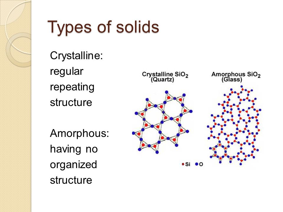 Types of solids Crystalline: regular repeating structure Amorphous: having no organized structure