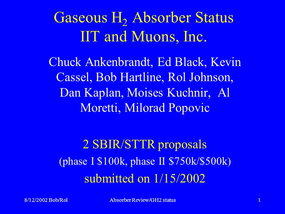8/12/2002 Bob/RolAbsorber Review/GH2 status1 Gaseous H 2 Absorber Status IIT and Muons, Inc.