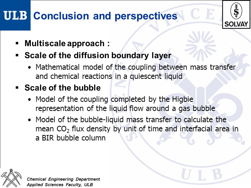 Chemical Engineering Department Applied Sciences Faculty, ULB Conclusion and perspectives  Multiscale approach :  Scale of the diffusion boundary la