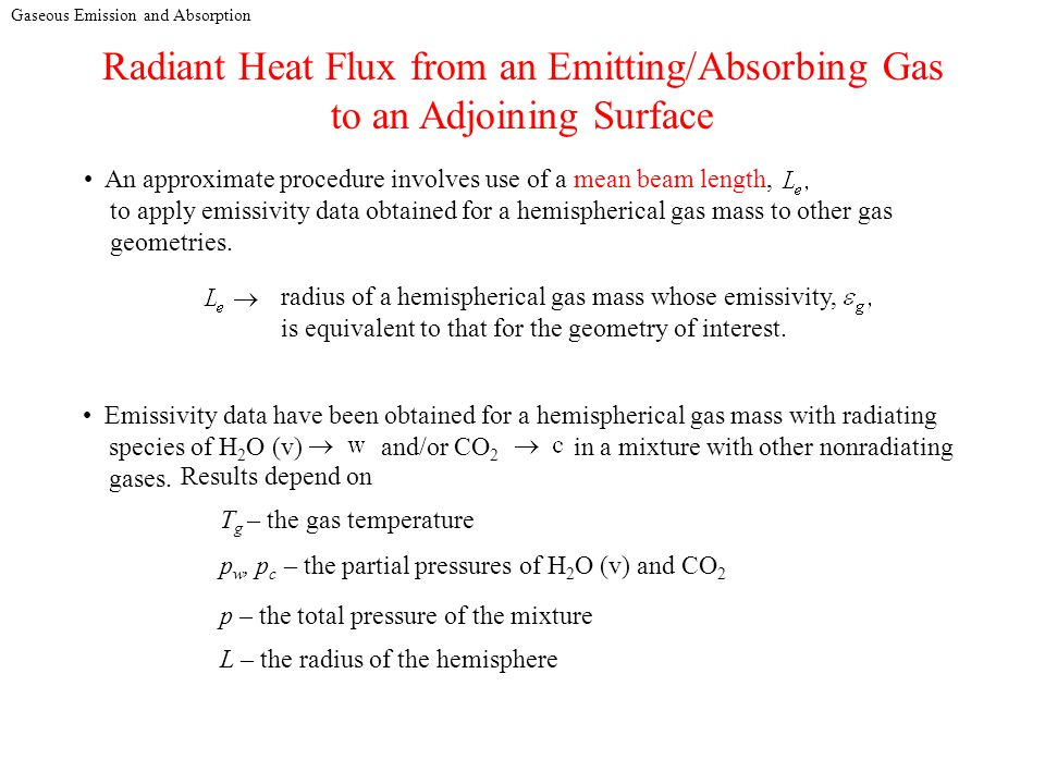 Gaseous Emission and Absorption Radiant Heat Flux from an Emitting/Absorbing Gas to an Adjoining Surface An approximate procedure involves use of a mean beam length, to apply emissivity data obtained for a hemispherical gas mass to other gas geometries.