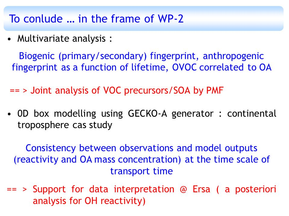 To conlude … in the frame of WP-2 Multivariate analysis : Biogenic (primary/secondary) fingerprint, anthropogenic fingerprint as a function of lifetime, OVOC correlated to OA == > Joint analysis of VOC precursors/SOA by PMF 0D box modelling using GECKO-A generator : continental troposphere cas study Consistency between observations and model outputs (reactivity and OA mass concentration) at the time scale of transport time == > Support for data interpretation @ Ersa ( a posteriori analysis for OH reactivity)
