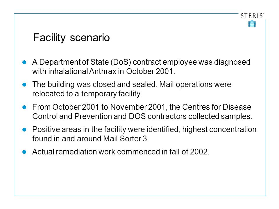 Facility scenario A Department of State (DoS) contract employee was diagnosed with inhalational Anthrax in October 2001.
