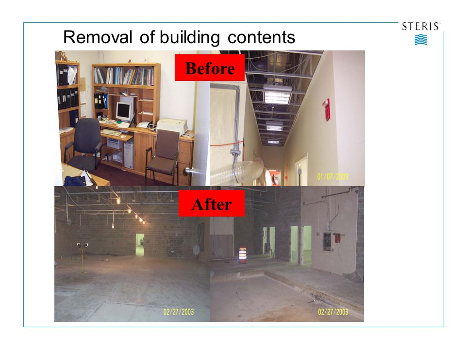 Before After Removal of building contents