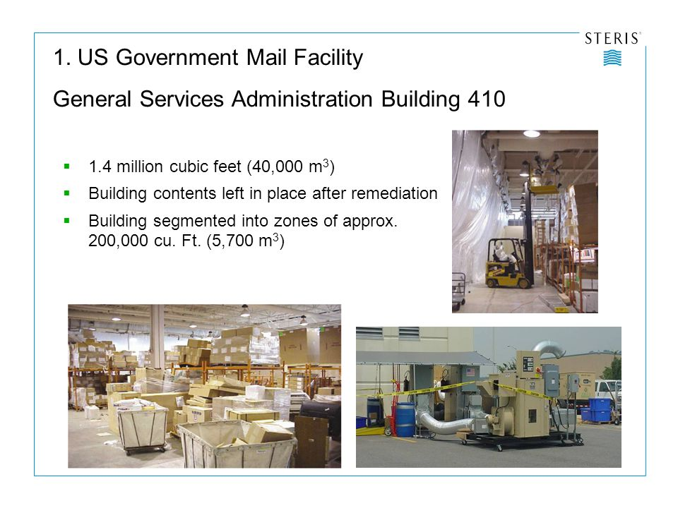  1.4 million cubic feet (40,000 m 3 )  Building contents left in place after remediation  Building segmented into zones of approx.