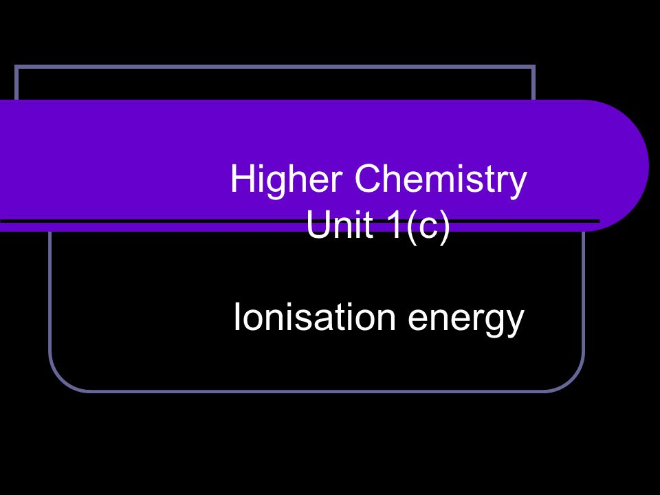 After today's lesson you should be able to: explain the meaning of the term 'first ionisation energy'.