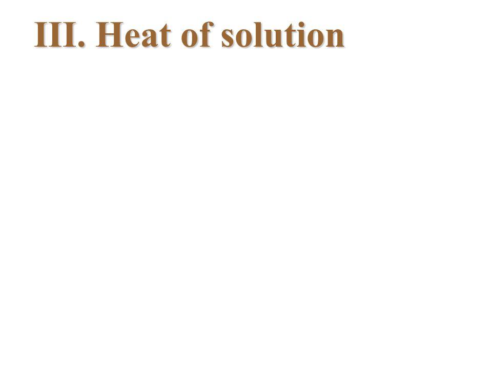 III. Heat of solution