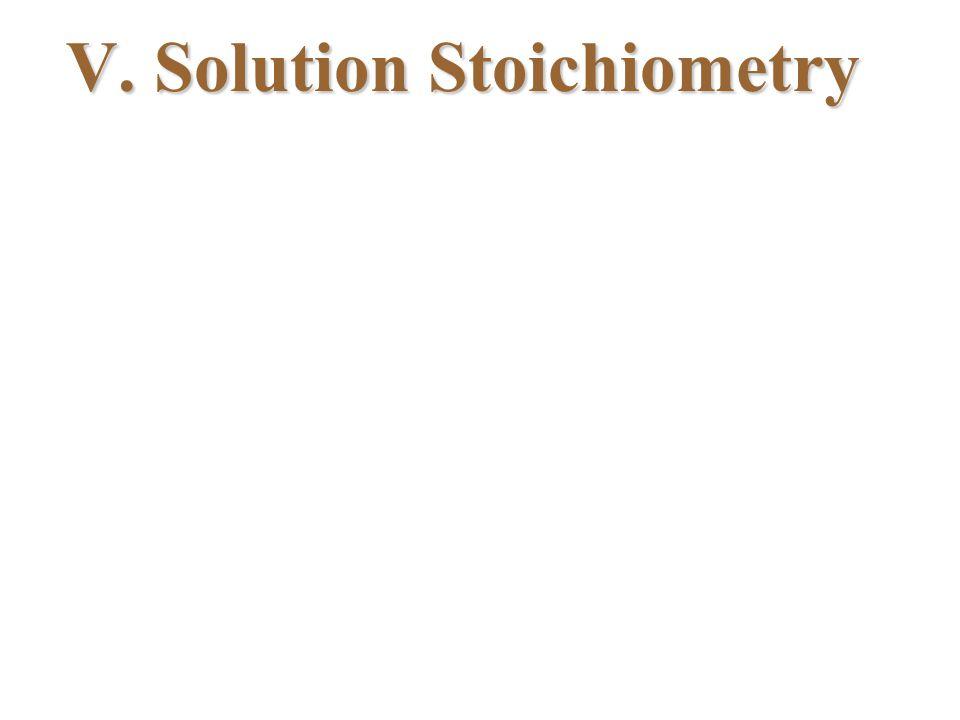 V. Solution Stoichiometry