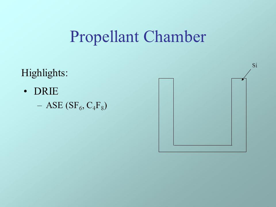 Propellant Chamber DRIE –ASE (SF 6, C 4 F 8 ) Si Highlights: