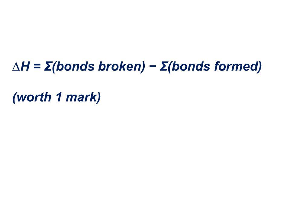  H = Σ(bonds broken) − Σ(bonds formed) (worth 1 mark)