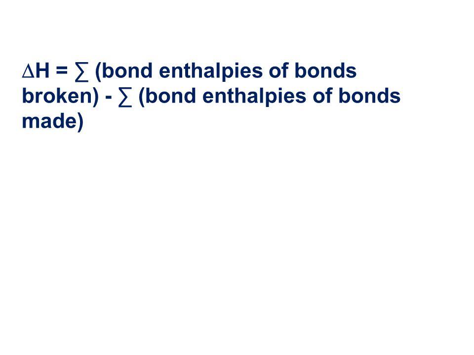  H = ∑ (bond enthalpies of bonds broken) - ∑ (bond enthalpies of bonds made)